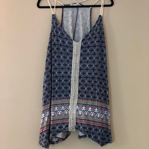 Maurice's triangle hem navy patterned tank top